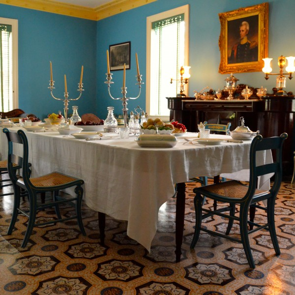 A Set Dining Room Table in Andrew Jackson's Hermitage Mansion