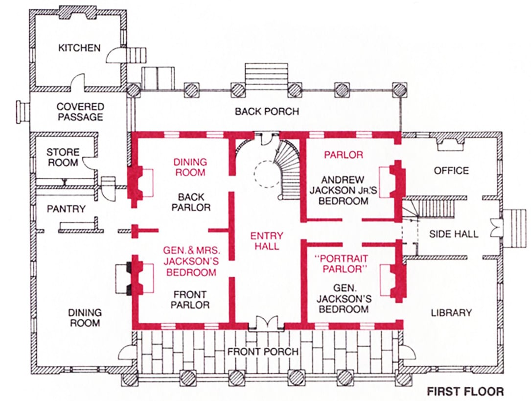 Room by room mansion of andrew jackson the hermitage for House plans nashville tn