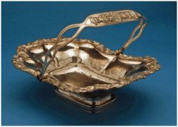 Cake basket England c1820 The kinds of cakes served in a cake basket were actually more like what we would call cookies or teacakes. For special occasions, cakes and sweets came from the bakery in town.