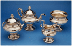 Andrew Jackson purchased this service from Louis Veron of Philadelphia while he was president. The original invoice listed a coffee pot, in addition to the teapot shown here. In later years the set was split among several owners and the coffee pot has never been located.