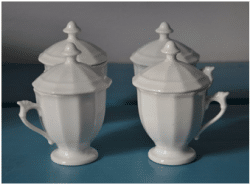 Pot de crème France c 1830 Individual servings of creams or custards were served in small covered cups that were frequently presented in large groups on special plates or stands.