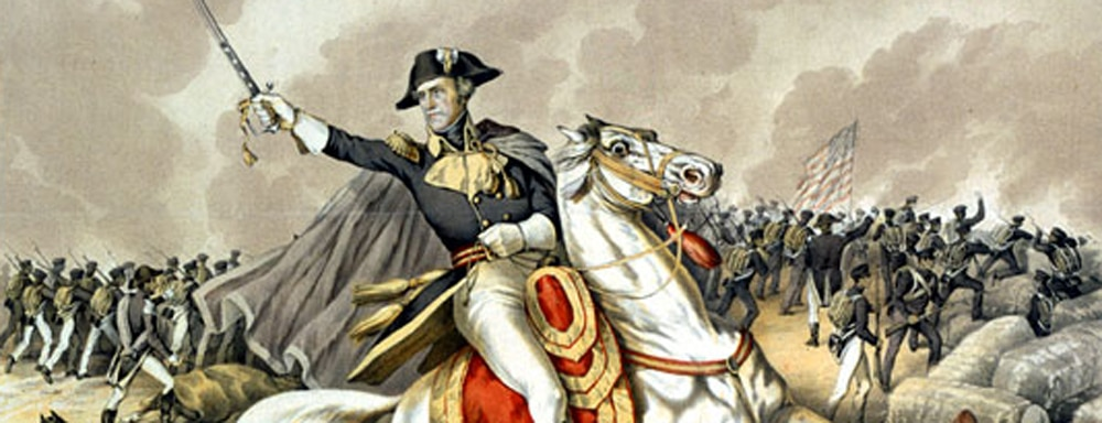 Illustration of General Andrew Jackson at The Battle of New Orleans
