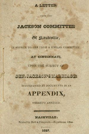 An Old Letter of the Jackson Committee of Nashville