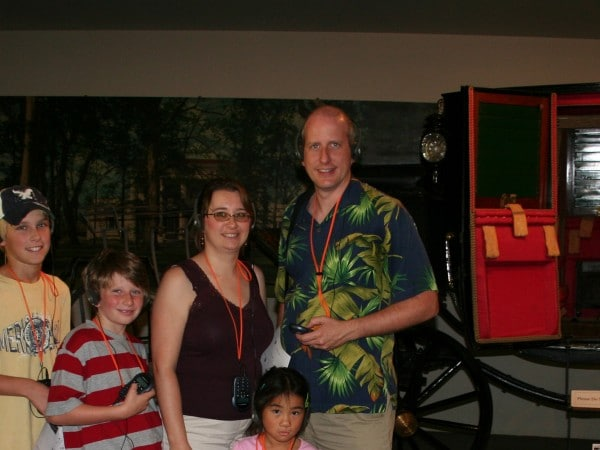 Family on an audio tour at the Hermitage