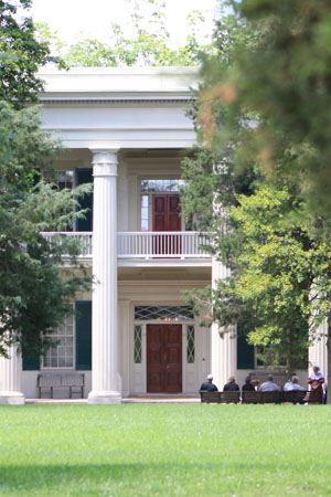 Zoom of The Hermitage Mansion Entryway and Balcony