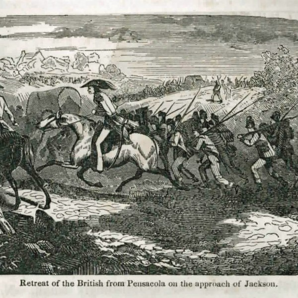 Illustration of the British fleeing pensacola