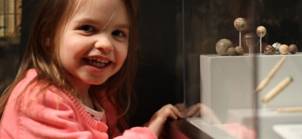 A girl at an exhibit