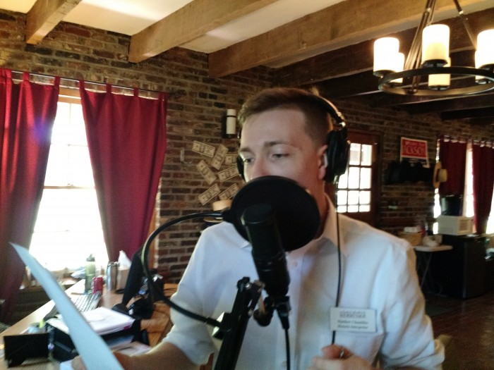 """Interpreter Matthew Chambliss recording his lines for """"The Toast"""""""