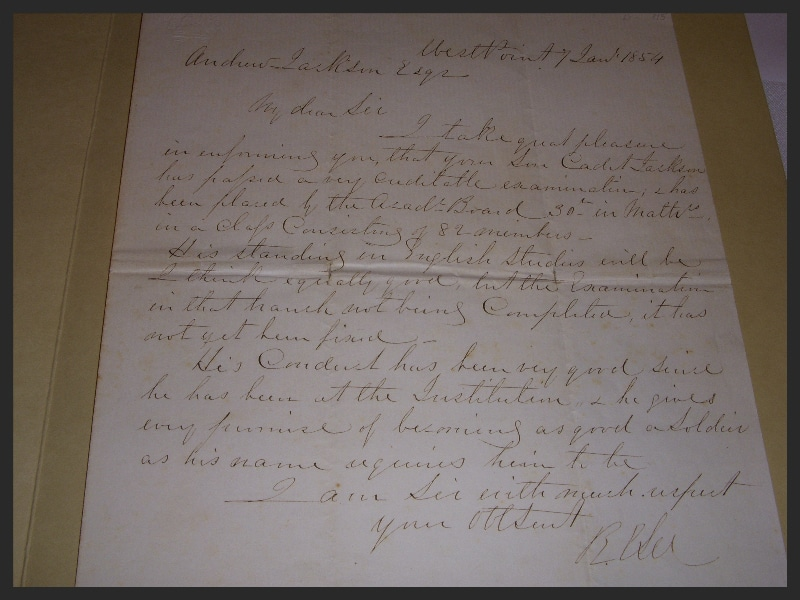 Letter from RobertE. Lee to Andrew Jackson, Jr. regarding Andrew Jackson, III's performance at West Point, 1854