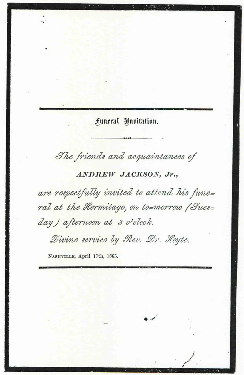 andrew jackson junior Invitation notifying friends of Andrew Jackson Junior's funeral