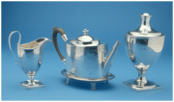 Cream Pitcher Joseph Richardson Philadelphia, c1795 Teapot Abraham Dubois, Philadelphia c1800 Sugar bowl Abraham Dubois, Philadelphia c1800 This silver tea service dates from about the same time as the sugar chest, and marks the Jackson household as very well to do.
