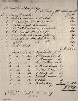 Invoice for Hermitage furniture purchased from Barry and Krickbaum, in Philadelphia near the end of Jackson's second term. In addition to Sarah Jackson's sewing and writing table, some of the furniture from Andrew Jackson's bedroom appears on this invoice.